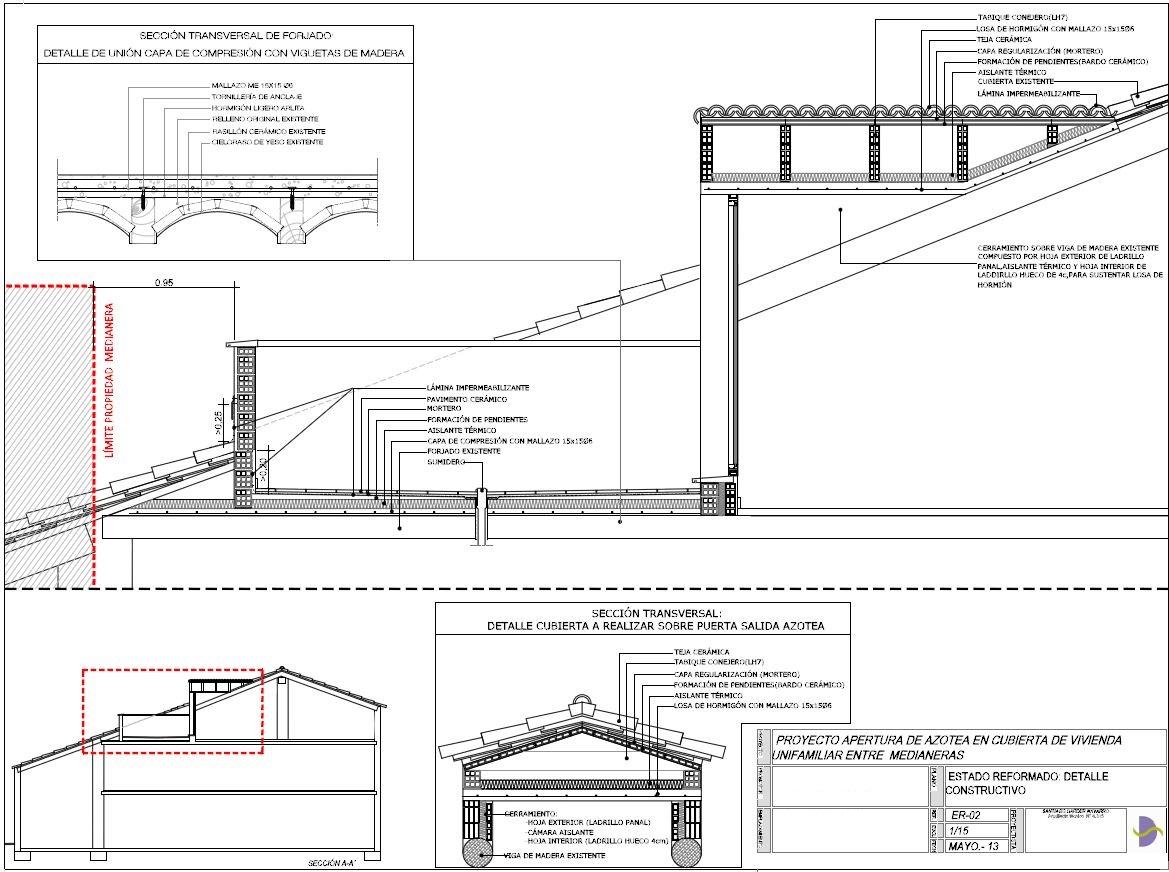 Apertura de azotea en cubierta de vivienda santiago for Cubierta piscina transitable